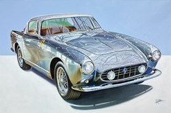 1957 Ferrari 250 GT Coupe by Boano by Roz Wilson - Varnished Original Painting on Stretched Canvas sized 36x24 inches. Available from Whitewall Galleries